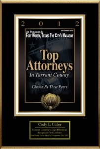 Award Plaque for Fort Worth Top Attorney for Criminal Defense