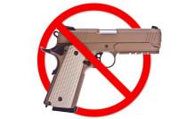 Gun with red crossbar