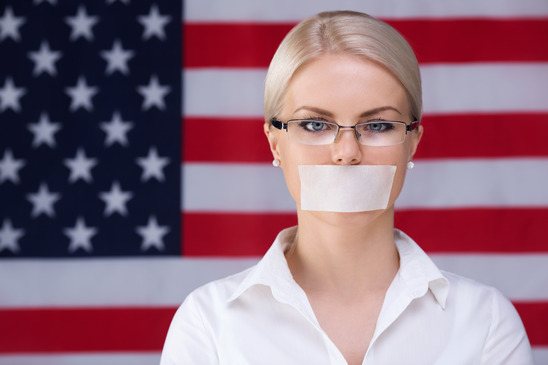 American Flag with Taped Mouth