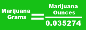 Graphic showing ounces to grams marijuana conversion