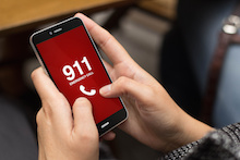 Cell phone 911 call in red