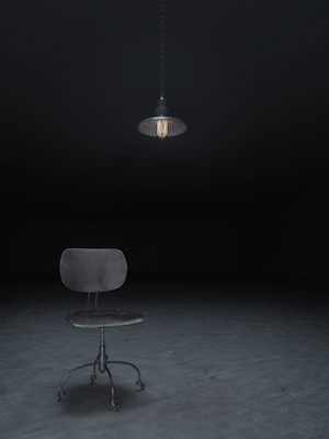 Chair and light in interrogation facility