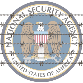 NSA Logo behind barbed wire